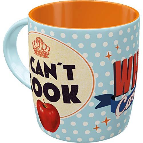 Nostalgic-Art 43003 Retro Kaffee-Becher Say it 50's - Can't Cook Who Cares, Lustige große Tasse mit Spruch, Geschenk-Idee für Vintage-Liebhaber, 330 ml