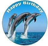 Dolphin essbare Kuchen Topper Zuckerguss 7.5