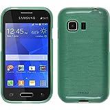 Funda de silicona para Samsung Galaxy Young 2 - brushed verde - Cover PhoneNatic Cubierta + protector de pantalla
