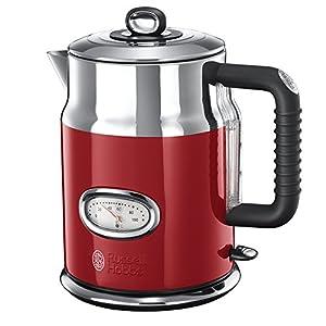 Russell Hobbs Retro Ribbon Red 21670-70 Wasserkocher mit stylischer Wassertemperaturanzeige (2400 W, Schnellkochfunktion) rot