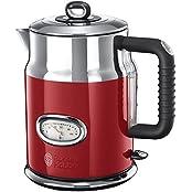 Russell Hobbs 21670-70 Retro Ribbon Red Wasserkocher mit stylischer Wassertemperaturanzeige, Schnellkochfunktion, 2400 W, rot