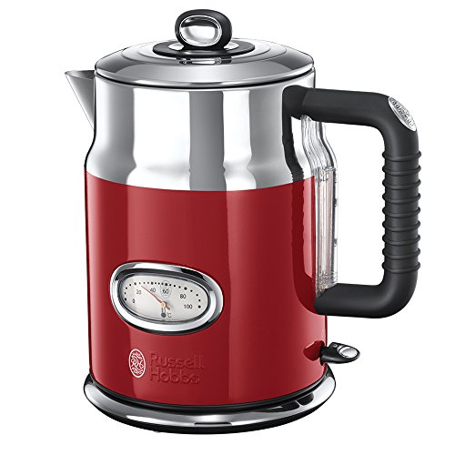 Russell Hobbs Retro Ribbon Red 21670-70 Wasserkocher (2400 W, mit stylischer Wassertemperaturanzeige Schnellkochfunktion) rot (Wasserkocher Eine Tasse)
