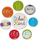 alles-meine.de GmbH 7 TLG. Button Set -  Schulkind & Schulanfang  - Ansteck Pin / Ansteckbutton - Schultafel ABC + Schultüte + Schulrucksack + Stifte - Buttons für Schulanfänge..