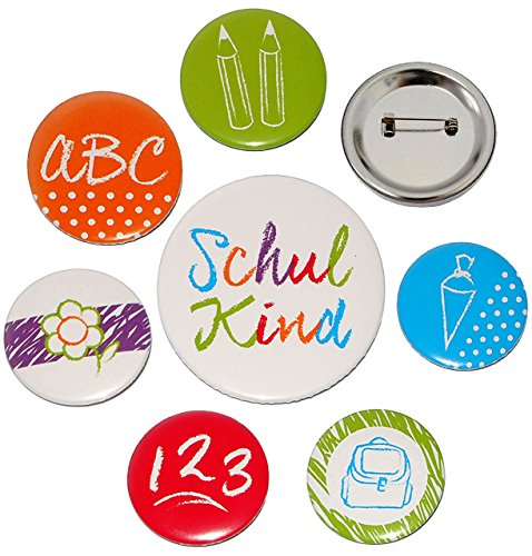 7 tlg. Button Set - Schulkind & Schulanfang