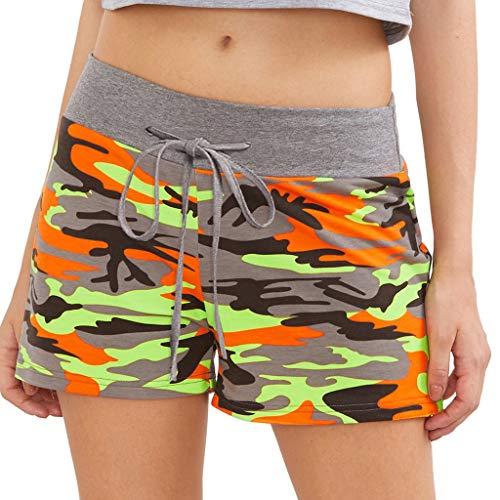 ??♀️TTLOVE Damen Hot Pants Sommer Shorts Hohe Taille Kurze Hosen Sexy Design Casual NäHte Sport Mini Shorts, Striped Print Camouflage Stitching Hose(Grün,XXL)