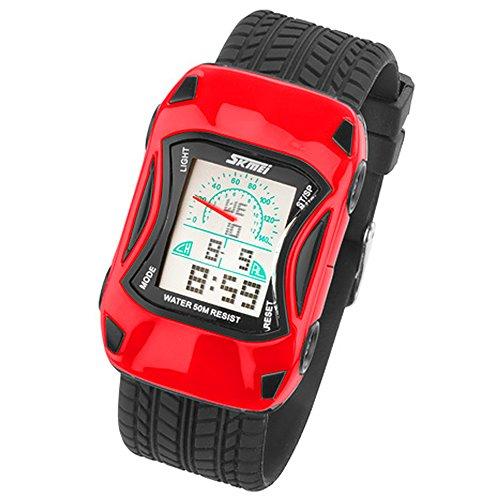 Taffstyle Kinder Armbanduhr Silikon Sportuhr Bunte Uhr Stoppuhr Auto Motiv mit Alarm Digital Quartz Rot