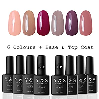 Y&S UV/LED Gel Nail Polish Sets 6 Colours + Base Coat and Top Coat 8ml