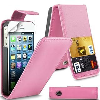 AIBULO Levish Klappetui für Apple iPhone 5 / 5S / SE, PU-Leder, mit 2 Kartenfächern, Hellrosa