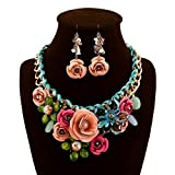 truecharms Damen Luxus Fashion Jewelry Sets Abend Party afrikanischen Perlen Schmuck Set Lenker Radaufhängung Kristall Blume Ohrring Halskette Set multi