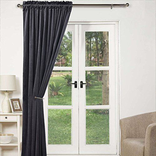 ponydance thermal insulated rod pocket heavy velvet blackout door curtain noise reducing u0026 draught draft for window treatment home fashion single panel