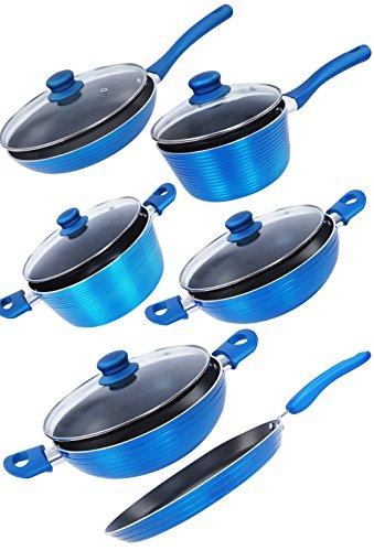 Nirlon Aluminium Cookware Set, 6-Pieces, Blue (FDG_123478)