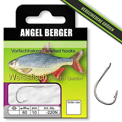 Angel Berger Vorfachhaken gebundene Haken (Weißfisch/Feeder, Gr.16 0.12mm)