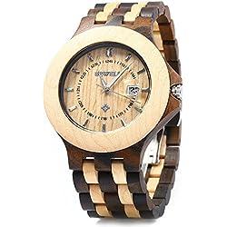 Bewell ZS - 080A Männer Holz Quarz Datum Luminous wasserdichte Uhr