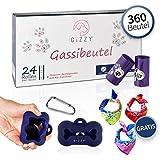 GIZZY® Premium Hundekotbeutel Bio 360 Stück mit Beutelspender (blau), Leinenclip & Geschenk I Hundetüten biologisch abbaubar I Kotbeutel für Hunde | Dog Poo Bags