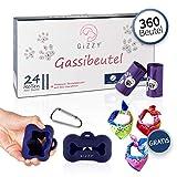 GIZZY® Premium Hundekotbeutel Bio 360 Stück mit Beutelspender (blau), Leinenclip & Geschenk I Hundetüten biologisch abbaubar I Kotbeutel für Hunde