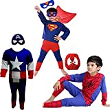 Combo Offer Captain America + Superman + Spiderman Costume Fancy Dress | Fancy Dress Costume Costume | Cosplay Carnival Costumes For Children | Fancy Dress Competition | B'day Party | Birthday Gift | B'day Gift | Baby Show | Halloween Costume | Kindergard