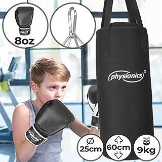 Physionics Kinder Boxsack-Set - mit Boxhandschuhen 8oz, Gefüllt, Ø25 cm, H60 cm, Gewicht 9kg, inkl. Karabinerhaken, für Junior Training   Sandsack, Kickboxen, MMA, Kampfsport, Muay Thai, Punching Bag