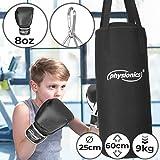 Kinder Boxsack-Set - mit Boxhandschuhen 8oz, Gefüllt, Ø28 cm, H65 cm, Gewicht 10kg, inkl....