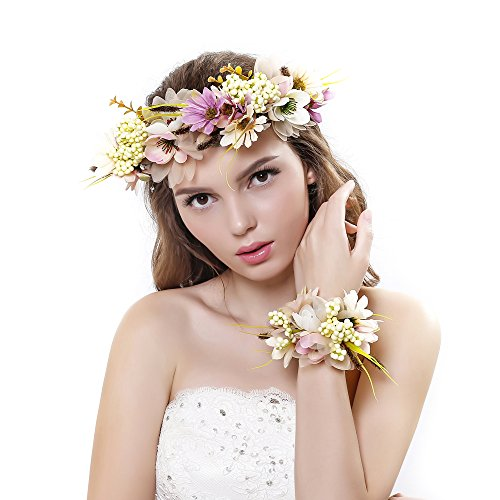 Ever Fairy® Women Girl Flower Wreath Crown Floral Garland Headband Wrist Band Set for Wedding