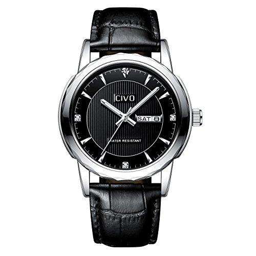 CIVO Reloj de Cuero para Hombres Negro Impermeable Reloj Día Fecha ... 311ccc4ae2b