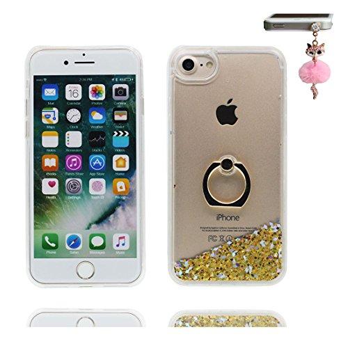 """iPhone 7 Coque, Étui Cover pour iPhone 7 4.7"""", Bling Glitter Fluide Liquide Sparkles Sables Shell iPhone 7 Case 4.7"""", perceptible Résistant à la poussière Scratch ring Support & Bouchon anti-poussière # 4"""