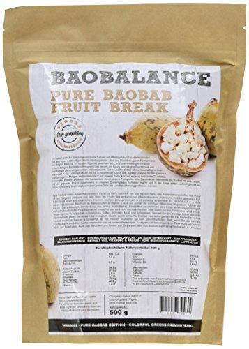 Baobalance Pure Baobab Premium Fruchtpulver für Smoothies & Shakes Wildwuchs-Qualität, 500 g -