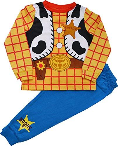 Jungen Toy Story WOODY Cowboy Kostüm Neuheit Schlafanzüge 1.5-2,2-3,3-4,Eu 104-110 - Blau, 3-4 (Herren Buzz Lightyear Kostüm)