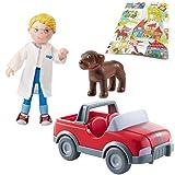 Haba Little Friends Tierarzt-Geländewagen rot Spielauto mit Tierarzt Andreas und Hund Dusty Spielfigur Zubehör