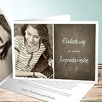 Lustige Einladungskarten Jugendweihe, Getäfelt Jung 5 Karten, Horizontale  Klappkarte 148x105 Inkl. Weiße Umschläge