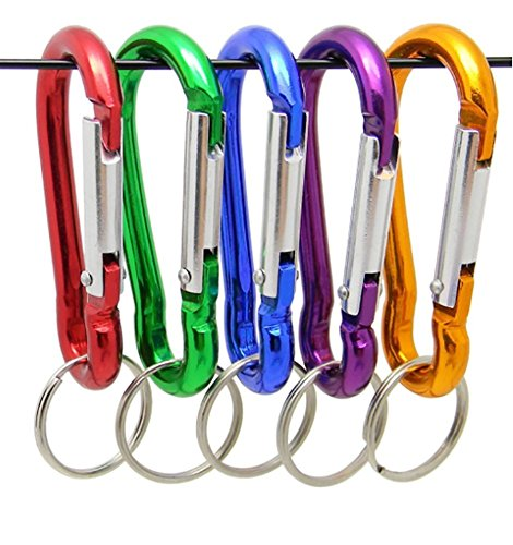 ZENDY Serrure à Ressort en Forme de Gourde en Aluminium verrouillable Porte-clés pour la Maison, Camping, pêche, randonnée, 2,65 Pouces, Serrure à Crochet (Pack10)