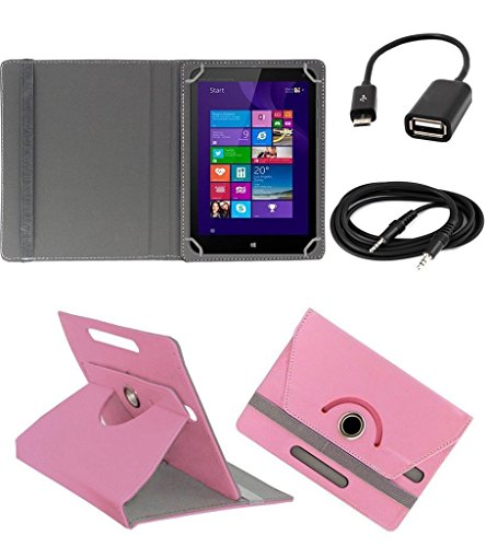 ECellStreet ™ PU Leather Rotating 360° Flip Case Cover With Tablet Stand For Digiflip Pro ET701Tablet - Light Pink + Free Aux Cable + Free OTG Cable  available at amazon for Rs.289