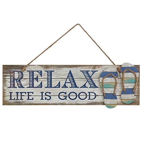Preisvergleich Produktbild Woodpassion Relax Life Is Good 59x20 cm Hängeschild Holzschild Sommer Strand Maritim Deko Wandbild MDF