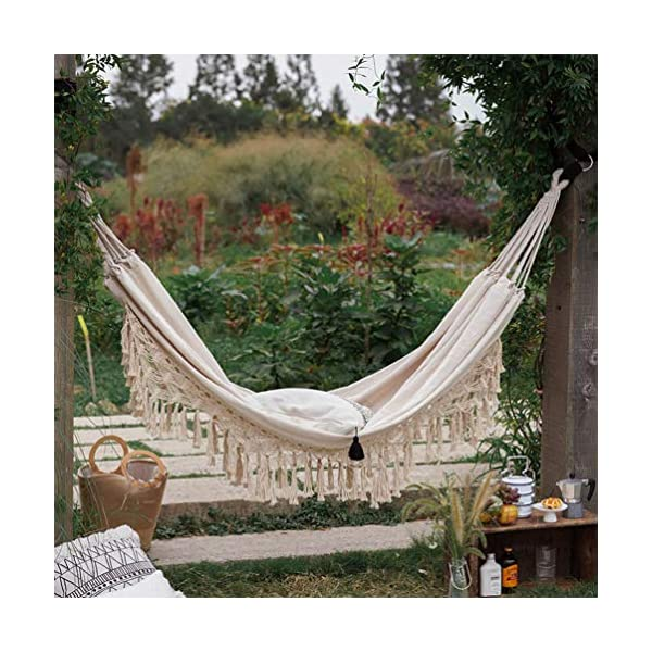 DOITOOL Hammock Boho Tassel Double Hammock Two Person Bed for Backyard Porch Outdoor Indoor DOITOOL Lightweight, easy to carry and use. Perfect for relaxing yourself during outdoor activities, such as camping, traveling, backpacking, etc. Made of high quality material, durable and safe to use. 6