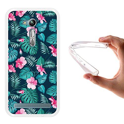 Asus Zenfone Go ZB500KL Hülle, WoowCase Handyhülle Silikon für [ Asus Zenfone Go ZB500KL ] Tropische Blumen 2 Handytasche Handy Cover Case Schutzhülle Flexible TPU - Transparent