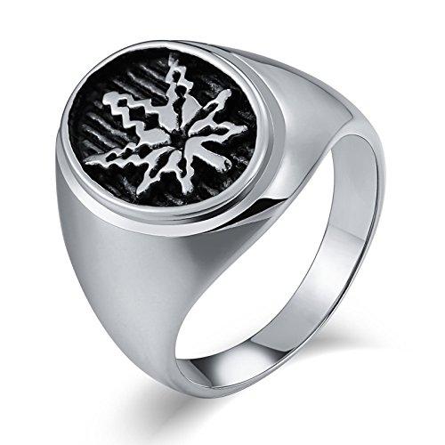 Anazoz gioielli anelli uomo acciaio fede ragazzo moda punk biker stile acciaio inossidabile maple leaf anelli uomo gotico argento size 27