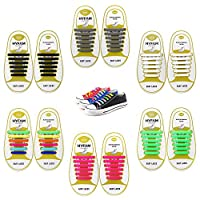 HYFAM No Tie Shoelaces for Kids/Adults, Waterproof Elastic Silicone Tieless ShoeLaces for Sneakers Board Shoes Casual Shoes