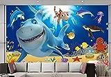 Cartoni animati murali della decorazione di progettazione della carta di parete marina della tartaruga del pesce del delfino del mondo subacqueo carta da parati fotomurali murale vintage-350cm×256cm