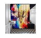 Bishilin Badewannen Duschvorhang 180x200 Elefant 3D Lustiger Duschvorhang aus Polyester-Stoff