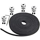 Xsentuals 5 Meters GT2 6MM Open Timing Belt + 4 Pcs GT2 Timing Pulley 20 Teeth 5MM Bore