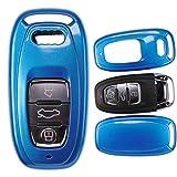 mt-key Auto Schlüssel Cover Hülle Audi A5 S5 Q5 A7 A8 A6 S6 A4 S4 Smartkey/Farbe: Metallic Blau
