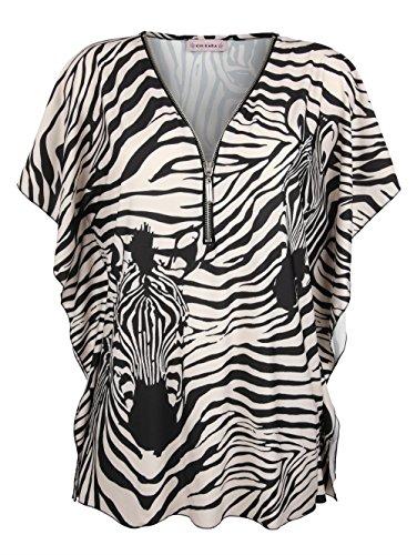 KIM KARA Shirt Oberteil V-Ausschnitt Allover Animal Print Damen Sexy Shirt Oberteil V-Ausschnitt Allover Animal Print (Zebra-print-v-ausschnitt)
