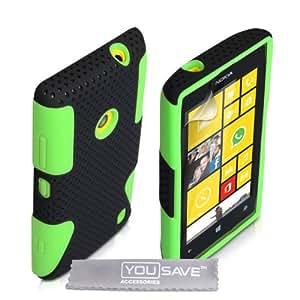 Yousave Accessories Tough Mesh Combo Silikon Cover Schutzhülle für Nokia Lumia 520–Schwarz/Grün