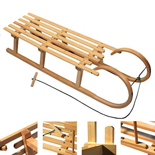 BAMBINIWELT Holzschlitten Hörnerrodel mit Zugseil, aus naturlackierten Buchenholz, Metallkufen,120cm