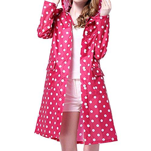 LAEMILIA Femme Manteau de Pluie Imperméable Vêtements Poncho Cape de Pluie Impermeable avec Capuche Raincoat (Rose)