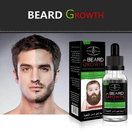 samLIKE Mann flüssiges Bart Wachstum beschleunigen schnell Gesichtsschnurrbart Nahrungs Schnurrbart (Clear)