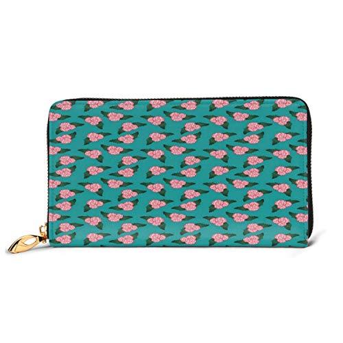 Women's Long Leather Card Holder Purse Zipper Buckle Elegant Clutch Wallet, Pure First Love Represented Pretty Begonia Flower Pattern,Sleek and Slim Travel Purse -