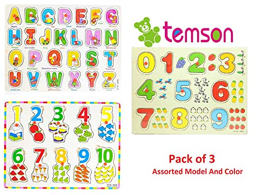 TEMSON Set of 3 Colorful Wooden Learning Educational Puzzle Board With Knob Learn Numbers Alphabets Educational Learning Wooden Board Tray Wooden Puzzles for Kids (30cm x 22cm) (Set of 3) (Assorted Modal)