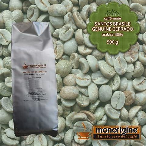 Caffè Verde in Grani Santos Brasile Genuine Cerrado 500 gr - Caffè Monorigine Arabica 100%