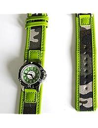 Boys Green Army Watch - 14-18cm Camoflague Strap - Easy Read Time Teacher Face