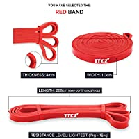 AlleTechPlus Fitness Exercise Bands Workout Strap Exercise Loop Crossfit Bands with different Power for Strength Weight Training Home Travel Yoga (Red)